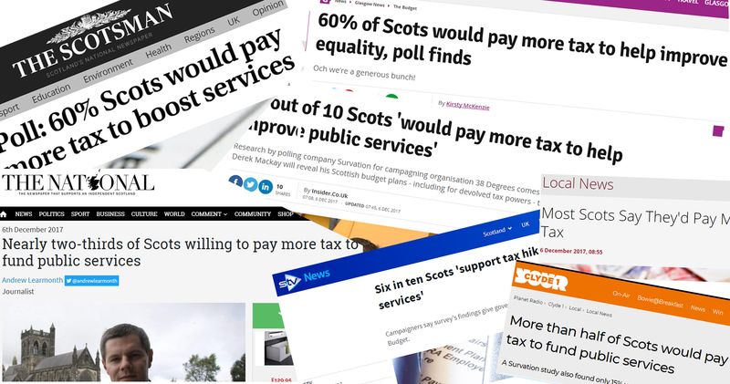 Screenshots of various headlines talking about 38 Degrees member funded opinion polls